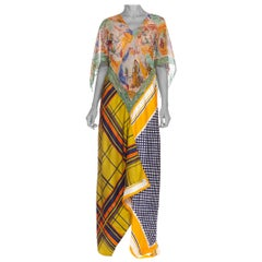 MORPHEW COLLECTION Yellow & Blue Scenic Geo Print Bias Cut Kaftan Dress Made Fr
