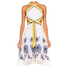 MORPHEW COLLECTION White Blue Floral Embroidered Cotton Lawn Backless Dress Wit