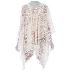 MORPHEW COLLECTION White Cotton Handmade Filet Lace Kaftan Tunic Beach Cover-Up