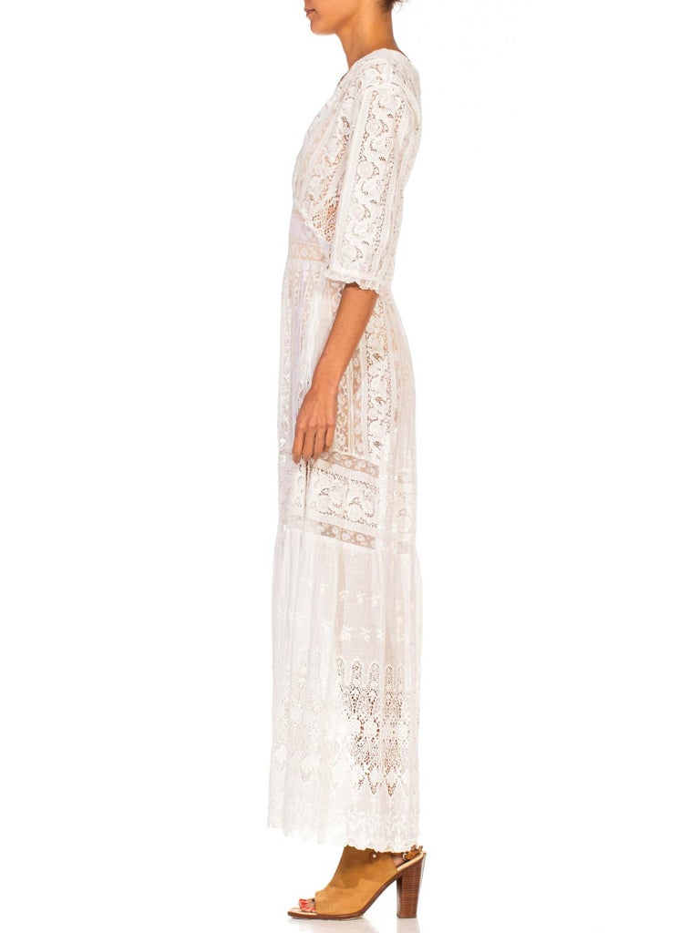 MORPHEW COLLECTION White Edwardian Organic Cotton Voile & Lace Wrap Dress In Excellent Condition For Sale In New York, NY