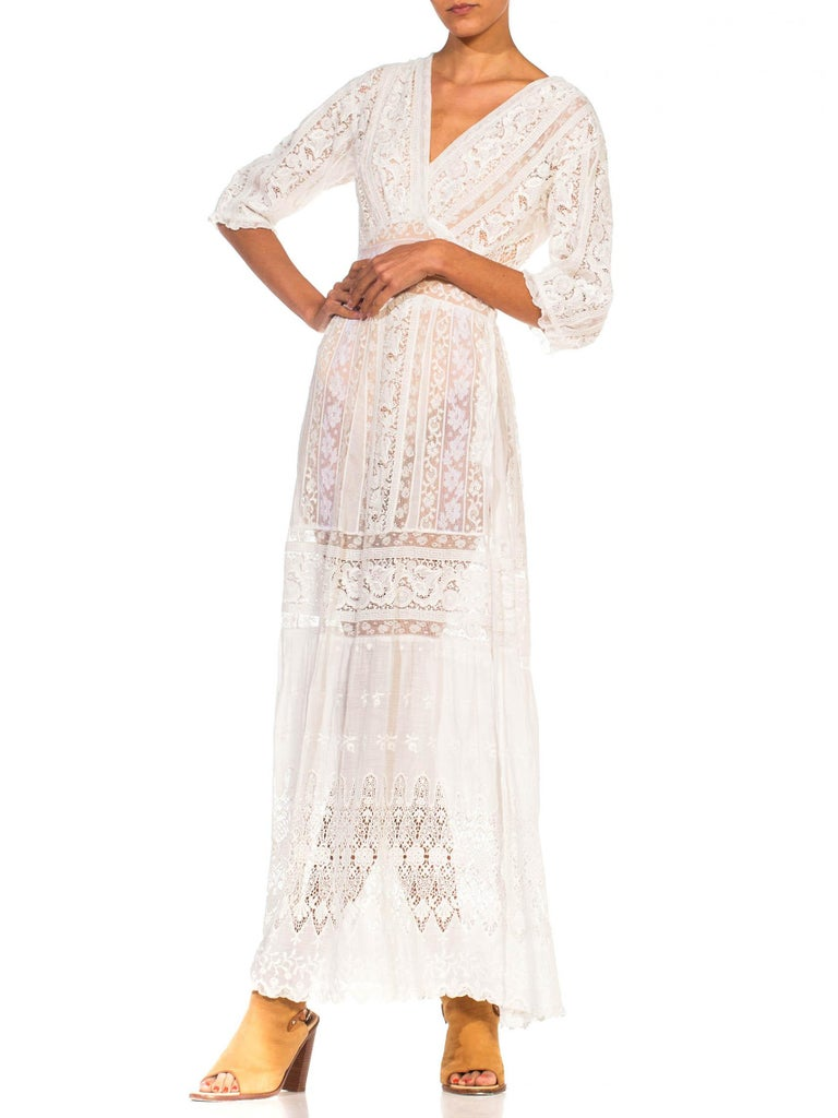 Women's MORPHEW COLLECTION White Edwardian Organic Cotton Voile & Lace Wrap Dress For Sale
