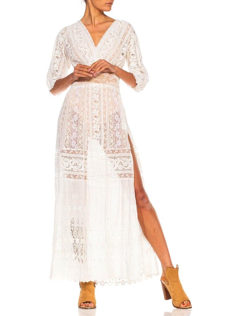 MORPHEW COLLECTION White Edwardian Organic Cotton Voile & Lace Wrap Dress For Sale 1