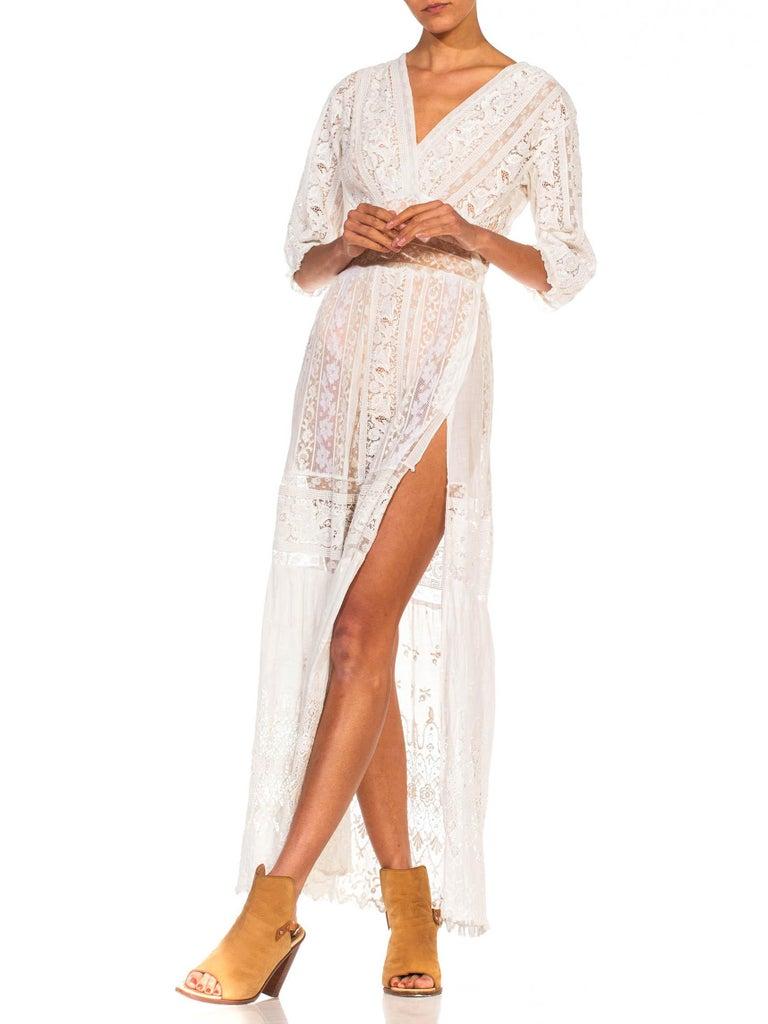 MORPHEW COLLECTION White Edwardian Organic Cotton Voile & Lace Wrap Dress For Sale 2