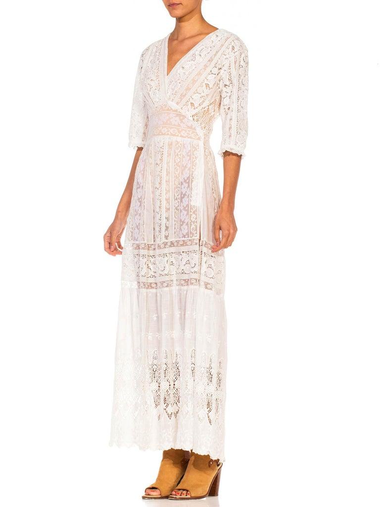 MORPHEW COLLECTION White Edwardian Organic Cotton Voile & Lace Wrap Dress For Sale 3