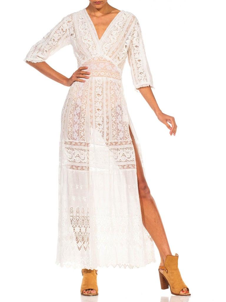 MORPHEW COLLECTION White Edwardian Organic Cotton Voile & Lace Wrap Dress For Sale 4