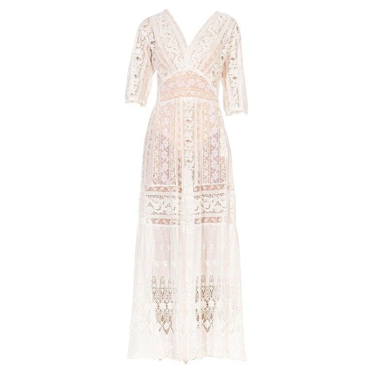 MORPHEW COLLECTION White Edwardian Organic Cotton Voile & Lace Wrap Dress For Sale