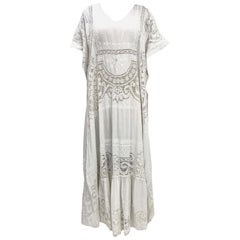 Morphew Collection White Hand Embroidered Linen & Lace Kaftan