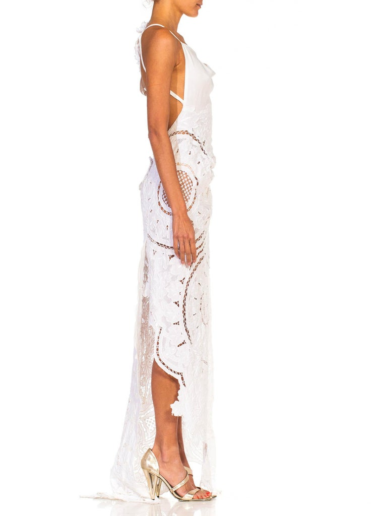 Gray MORPHEW COLLECTION White Linen Entirely Hand Embroidered Cut-Out Lace Gown For Sale