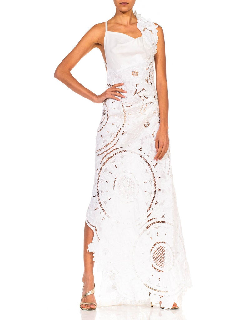 Women's MORPHEW COLLECTION White Linen Entirely Hand Embroidered Cut-Out Lace Gown For Sale