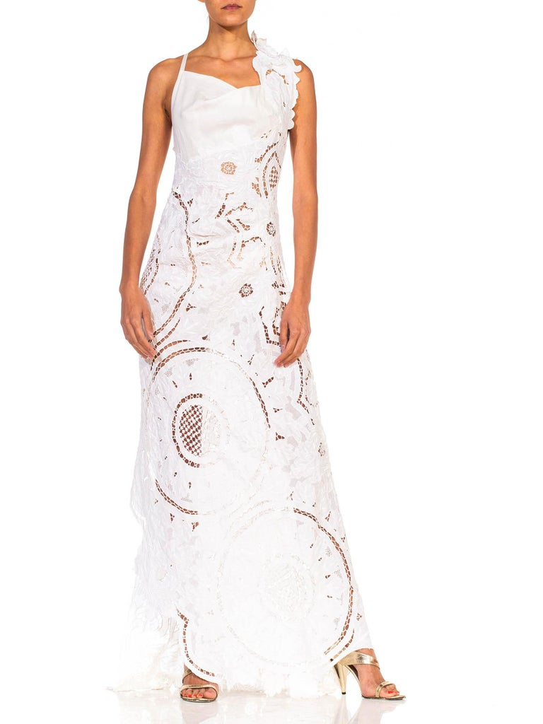 MORPHEW COLLECTION White Linen Entirely Hand Embroidered Cut-Out Lace Gown For Sale 1