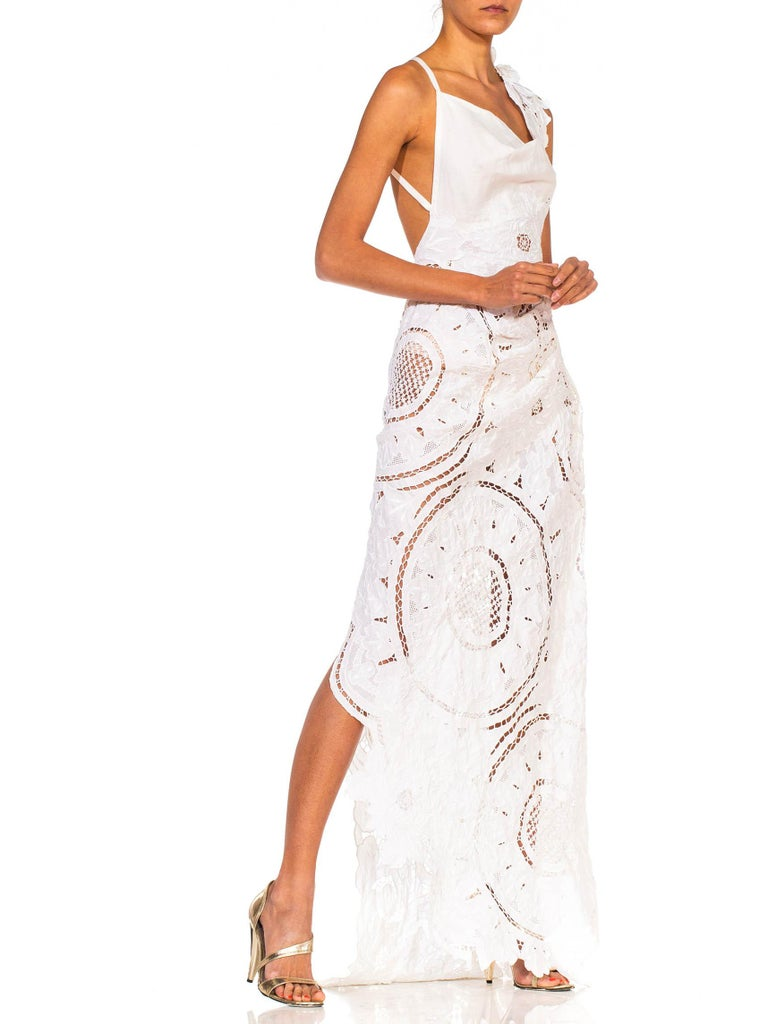 MORPHEW COLLECTION White Linen Entirely Hand Embroidered Cut-Out Lace Gown For Sale 2