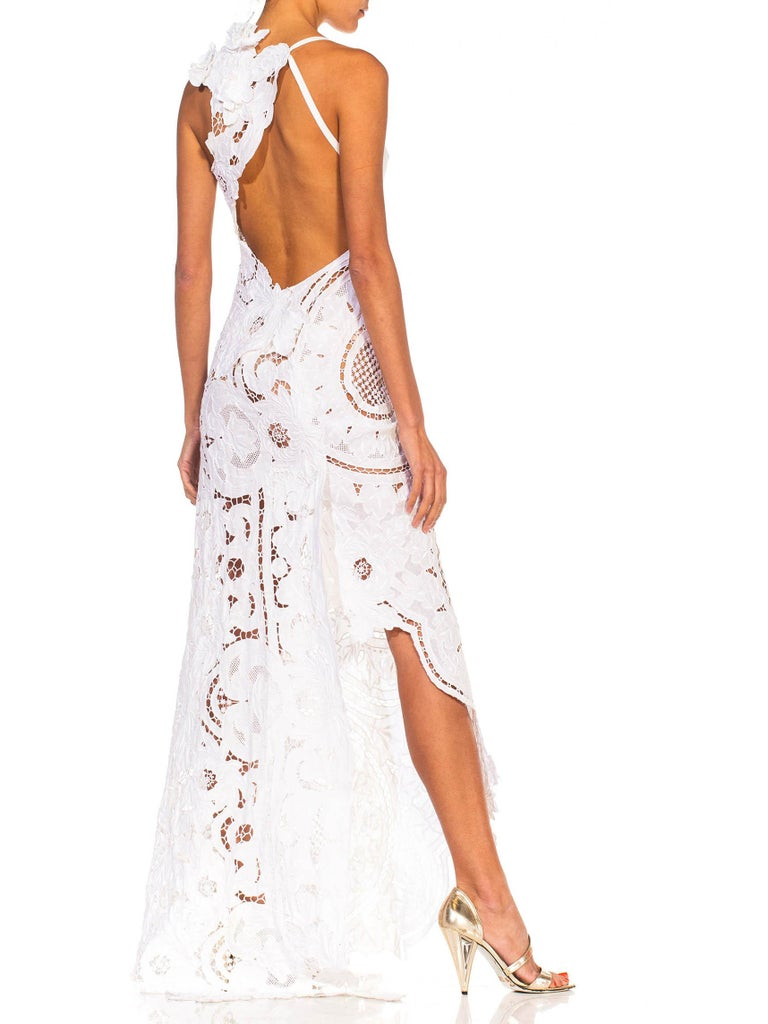 MORPHEW COLLECTION White Linen Entirely Hand Embroidered Cut-Out Lace Gown For Sale 3