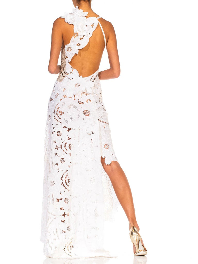 MORPHEW COLLECTION White Linen Entirely Hand Embroidered Cut-Out Lace Gown For Sale 4