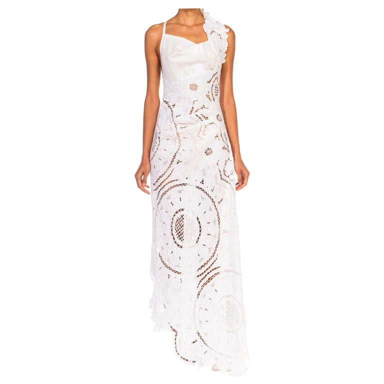MORPHEW COLLECTION White Linen Entirely Hand Embroidered Cut-Out Lace Gown For Sale
