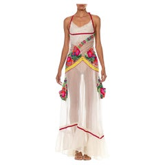 MORPHEW COLLECTION White & Multicolor Cotton Sequin Embroidered Lace Gown With