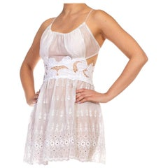 MORPHEW COLLECTION White Organic Cotton Victorian Lace Backless Strappy Dress