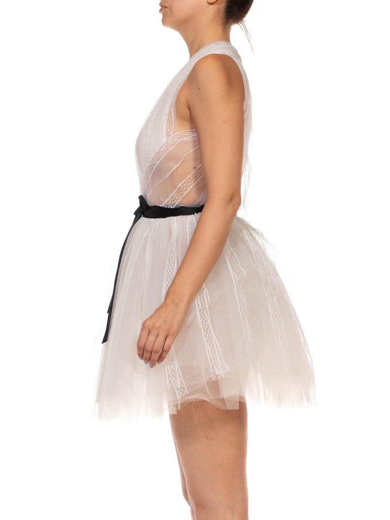 MORPHEW COLLECTION White Tulle Mini Dress With Black Satin Bow In Excellent Condition For Sale In New York, NY