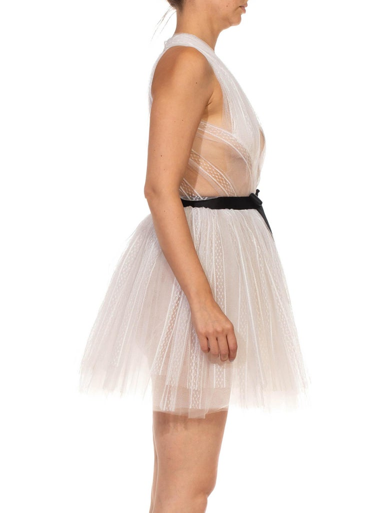 Women's MORPHEW COLLECTION White Tulle Mini Dress With Black Satin Bow For Sale