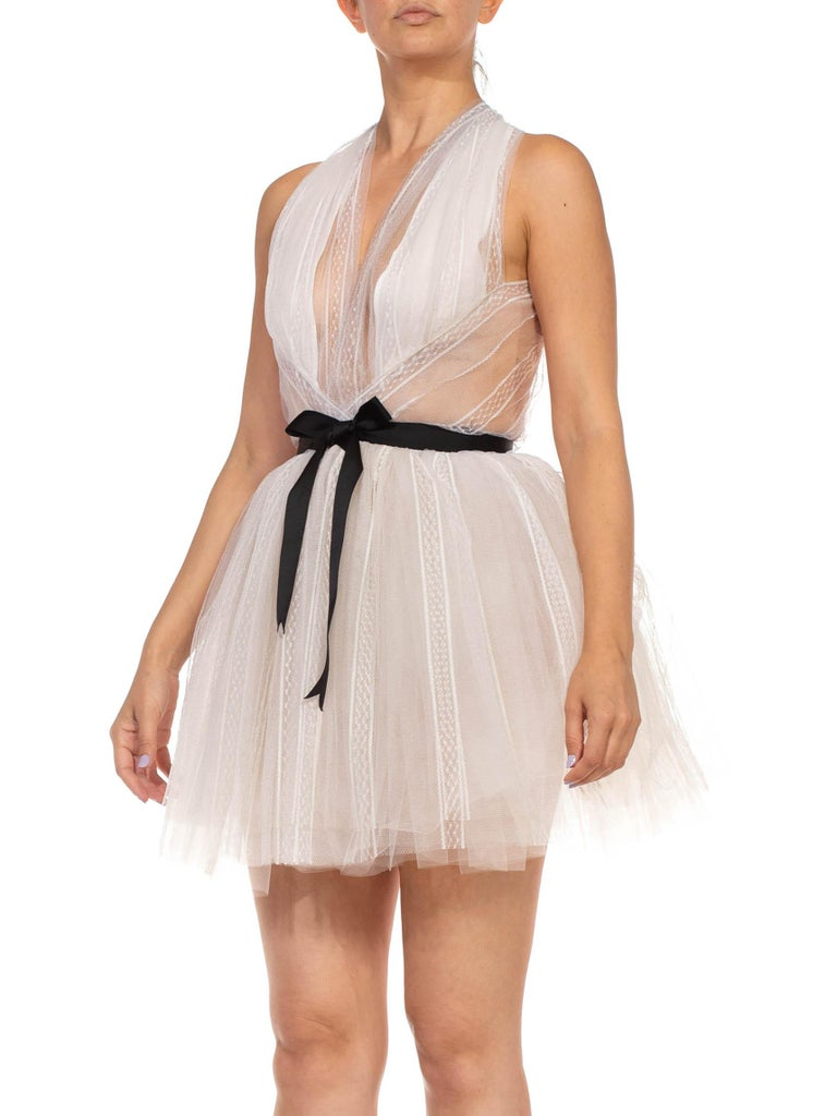 MORPHEW COLLECTION White Tulle Mini Dress With Black Satin Bow For Sale 2
