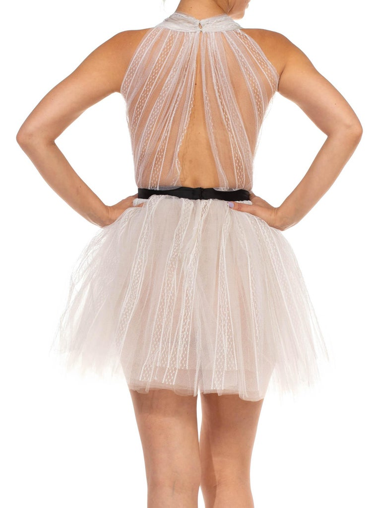 MORPHEW COLLECTION White Tulle Mini Dress With Black Satin Bow For Sale 3