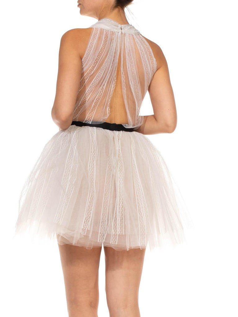 MORPHEW COLLECTION White Tulle Mini Dress With Black Satin Bow For Sale 4