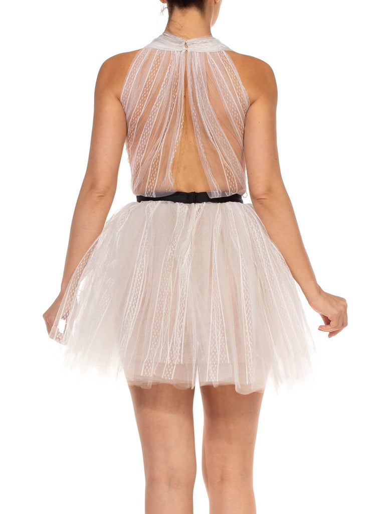 MORPHEW COLLECTION White Tulle Mini Dress With Black Satin Bow For Sale 5