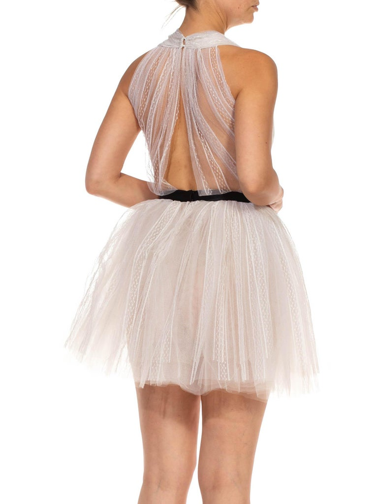 MORPHEW COLLECTION White Tulle Mini Dress With Black Satin Bow For Sale 6