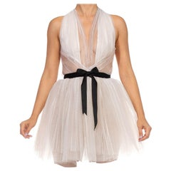 MORPHEW COLLECTION White Tulle Mini Dress With Black Satin Bow