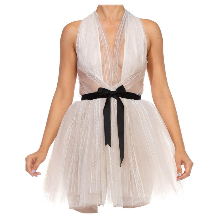 MORPHEW COLLECTION White Tulle Mini Dress With Black Satin Bow For Sale