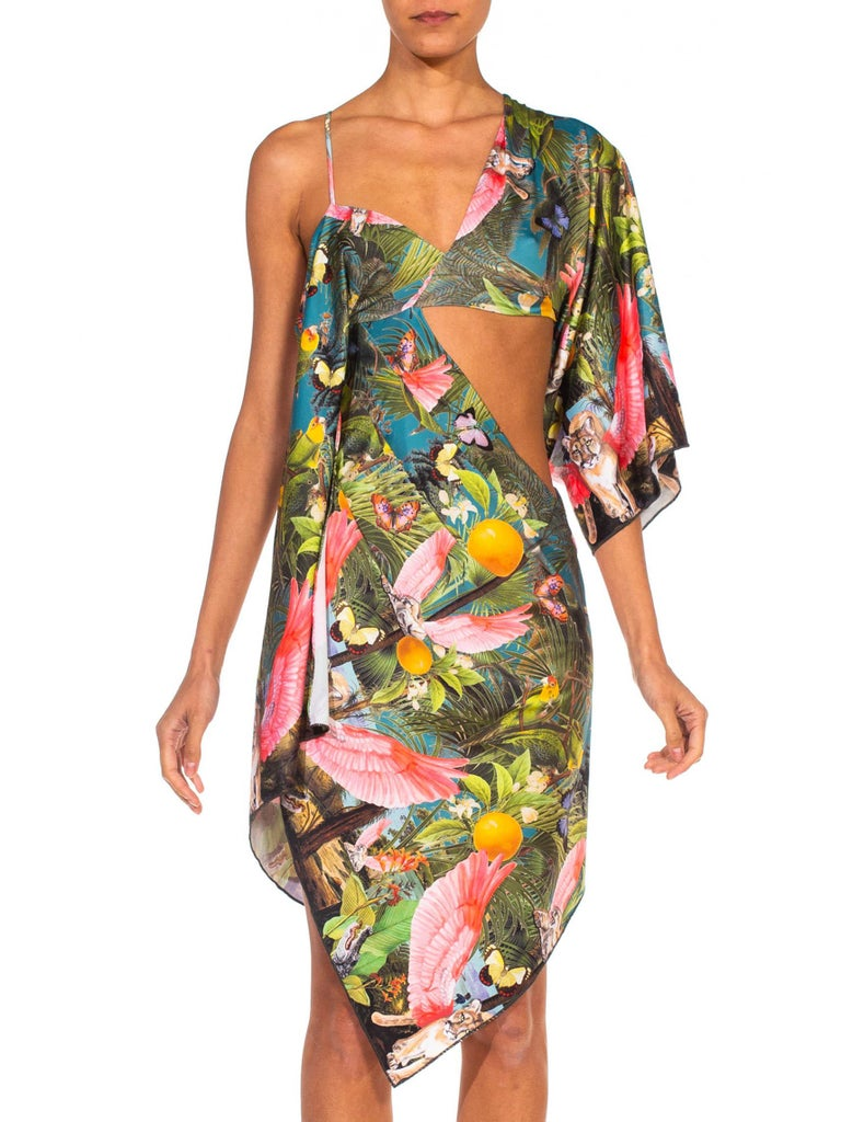 Brown MORPHEW COLLECTION X Magical Yogi Wear Trippy Flying Lions Cocktail Dress For Sale