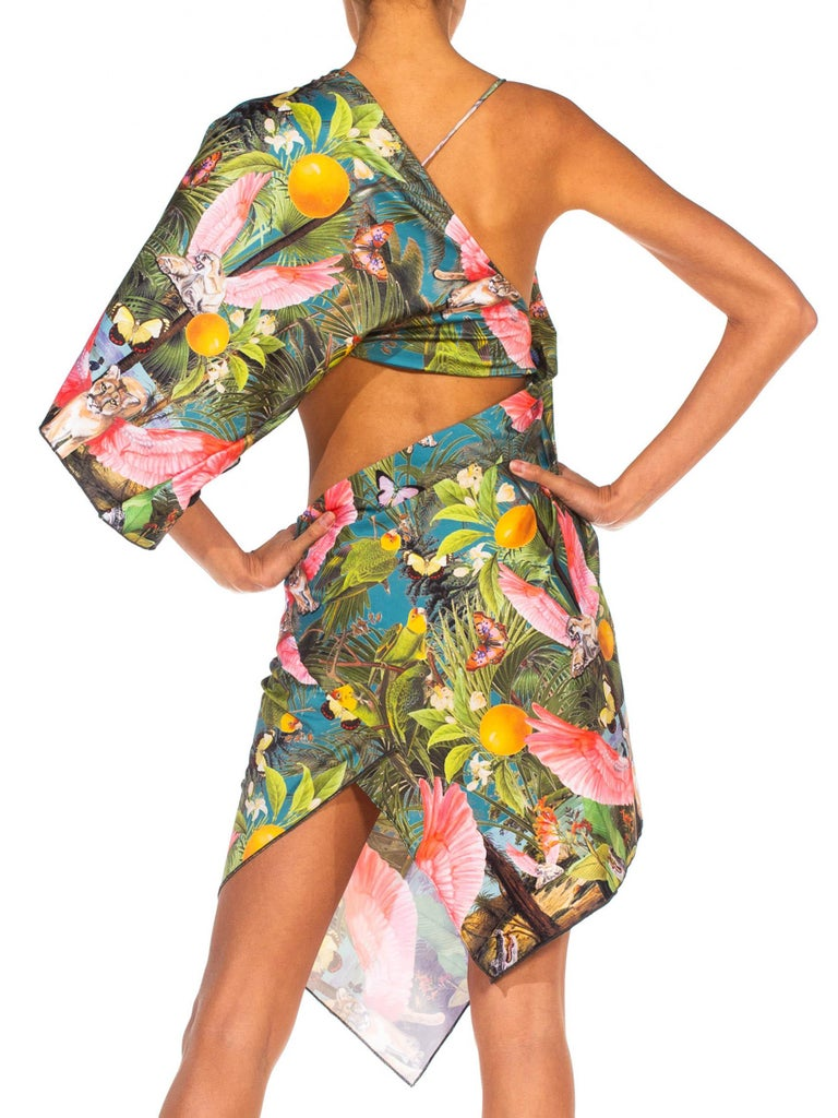 MORPHEW COLLECTION X Magical Yogi Wear Trippy Flying Lions Cocktail Dress For Sale 5