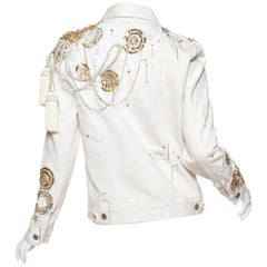 MORPHEW COLLECTION X UNLEASHED White Cotton Denim Gold Sequin, Lace & Crystal E