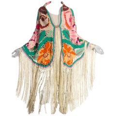 Morphew Cotton Floral Fringe Shawl with victorian clasp