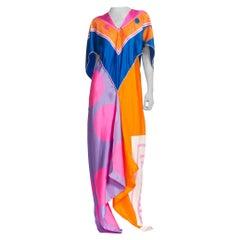 Morphew Kaftan Made From 1960'S Hand Printed Silk Scarves