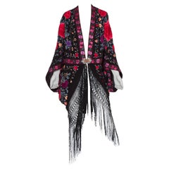 Morphew Lab Cocoon Made From 1920's Hand Embroidered Asian Silk With Fringe And
