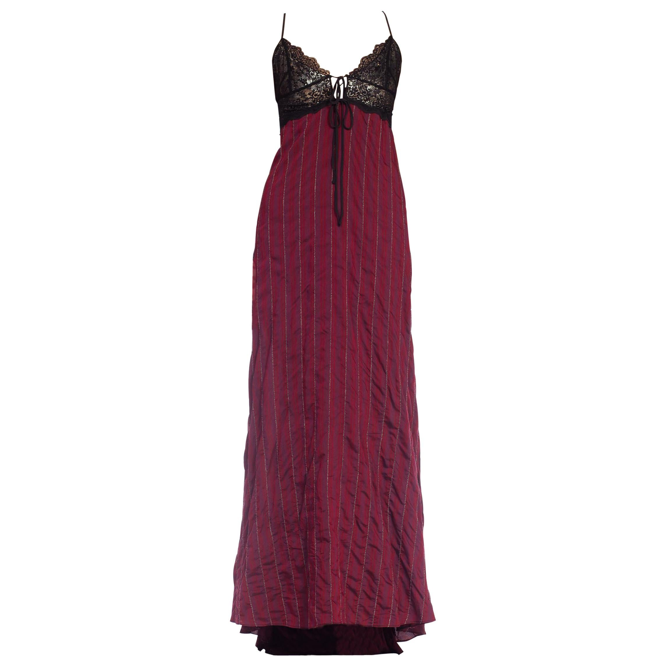 Morphew Collection Silk & Lace Gown With Silver Metal Mesh Lined Bust Slight Tr