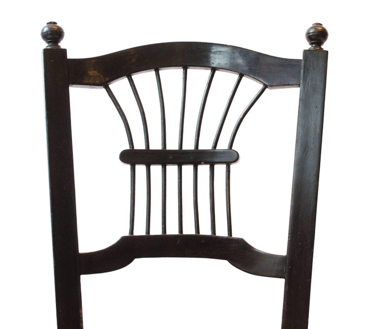 Arts and Crafts Morris & Co. an Ebonised Rush-Seat Sussex Side Chair by Daniel Gabriel Rossetti For Sale