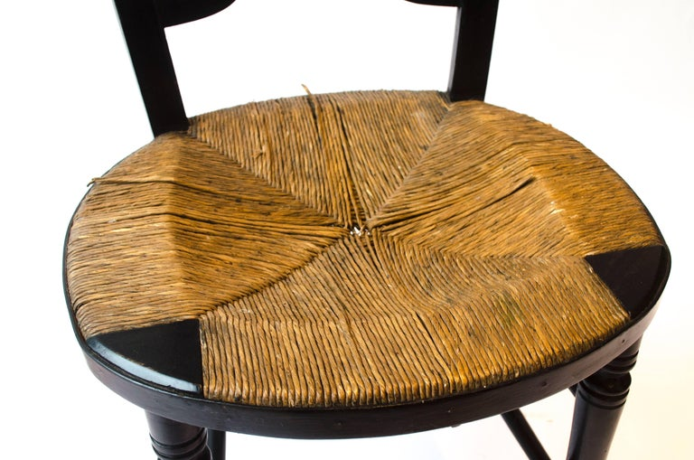 English Morris & Co. an Ebonised Rush-Seat Sussex Side Chair by Daniel Gabriel Rossetti For Sale
