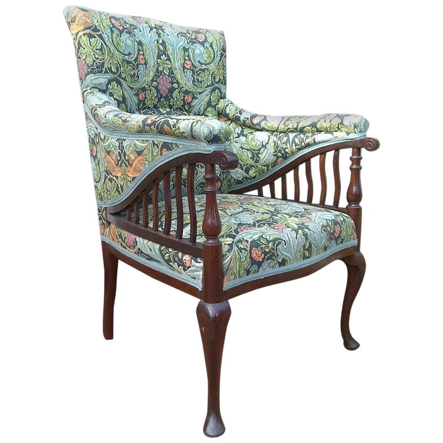 Morris & Co George Jack, Aesthetic Movement Mahogany Armchair in a Morris Fabric