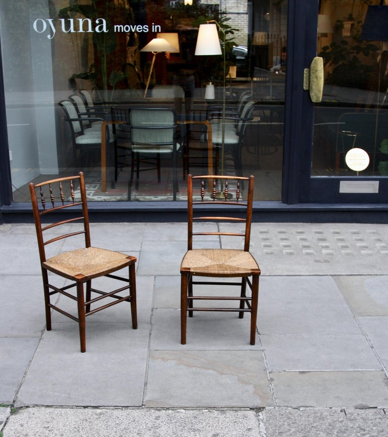 Mid-Century Modern Morris & Co Pair of Arts & Crafts 'Sussex' Chairs, 1864 For Sale