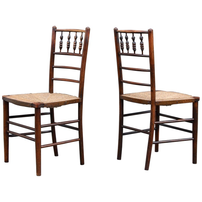 Morris & Co Pair of Arts & Crafts 'Sussex' Chairs, 1864 For Sale