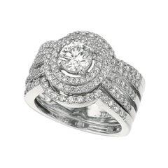 Morris & David 1.75 Carat Natural Diamond Ring G SI 14 Karat White Gold