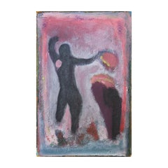 Untitled Expressionist Style Figurative Abstract On Masonite