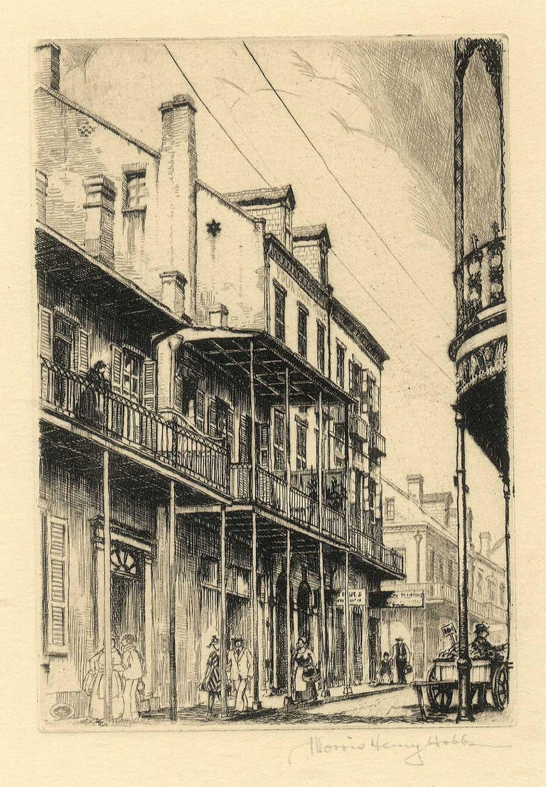 Old Rue Royale (French Quarter in New Orleans) - Beige Figurative Print by Morris Henry Hobbs