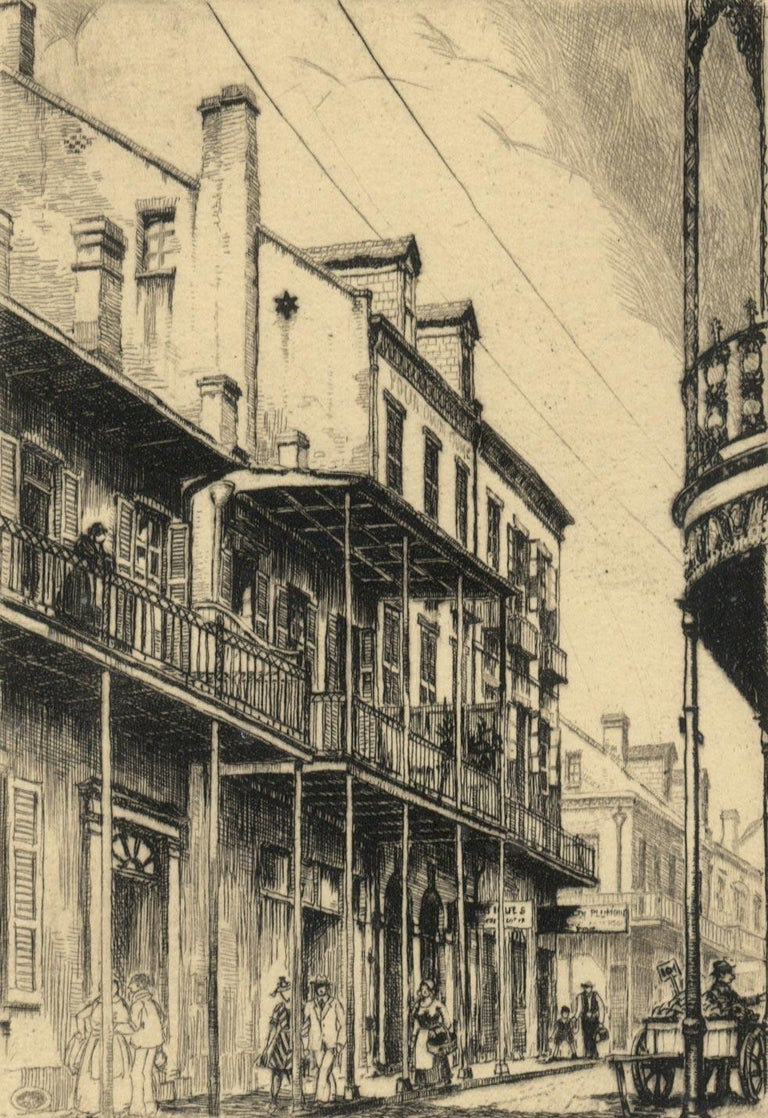 Morris Henry Hobbs Figurative Print - Old Rue Royale (French Quarter in New Orleans)