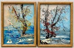 "Morris Katz Pair of ""Fall Colors on the Coast"" Oil Paintings C.1991"