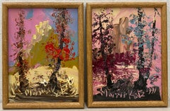 "Morris Katz Pair of ""Forested Landscape"" Oil Paintings C.1991"