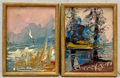 Morris Katz Pair of Original Outdoor Landscape Oil Paintings C.1991