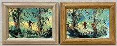 """Morris Katz """"Winter Ski Trip"""" Pair of Original Oil Paintings C.2001"""
