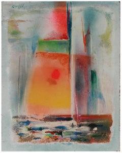Abstracted Sailboat 1994 Mixed Media & Sand